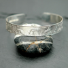 Sterling silver cuff bracelet with farm animal print  B8