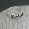 Sterling silver ring with three Swarovski crystals  R14
