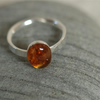 Custom order for J - Silver Ring with Amber Gemstone,  size I