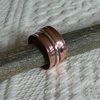 Copper and Sterling Silver Anticlastic Spinning Ring with Double Spinners, R71D