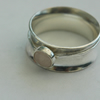 Silver Spinner Ring with Rose Quartz Gemstone, size O
