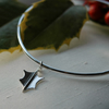Sterling Silver Bangle Bracelet with Holly Leaf Charm,  B86
