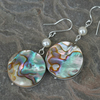 Sterling silver, Paua Shell and Pearl Drop Earrings,  E111