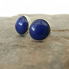Sterling Silver Round Stud Earrings with Lapis Lazuli
