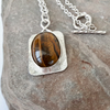 Sterling Silver and Golden Tiger's Eye Pendant Necklace