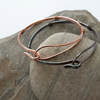 Copper Double Bangle, Hammered Loop and Hook, bronzed or bright finish