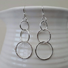 Three Hoop Dangle Drop Earrings in Sterling Silver