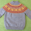 Pure Wool Jumper. Brown with Gold, Wine Fairisle Pattern. For 3-4 years.