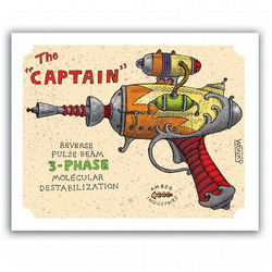 The Captain RAY GUN 8 x 10 Art Print by Mr Wonky