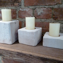Solid Wooden Shabby Chic Chunky Candle Holders (set of 3) Home accessories