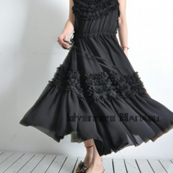 Black Chiffon Flounce Ruffles Sleeveless Full Length Maxi Prom Dress