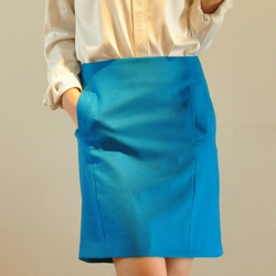 Sky Blue Silk Virgin Wool Pockets Aline Knee Length Skirt
