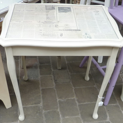 Shabby Chic, Small, tall coffee table with glass top.