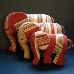 Family of Elephants in Red Stripe Ticking