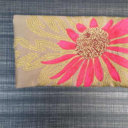 Pure Silk Clutch Bag with Zip Top and Flower
