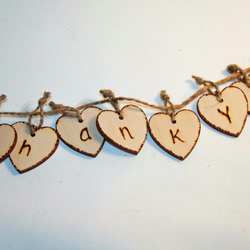 Thank You, Wedding Decoration, Small Wooden Heart Garland, Banner