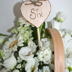 8 Wooden Table Numbers Rustic Love Heart Table Number Wedding Decor ( 1-8 )