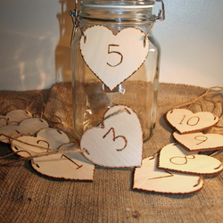 Wedding Table Numbers Wooden hearts