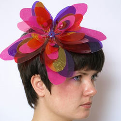 Upcycled Red and Pink Flower Fascinator - Alice Band
