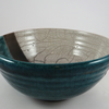 Raku Ceramic Bowl in Cream and Shades of Blue to Emerald Green - Handmade