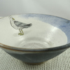 Ceramic bowl with yellow legged gull image - handmade pottery