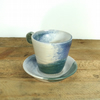 Cute Ceramic Cup & Saucer in Blue, Green & Cream - Stoneware Pottery
