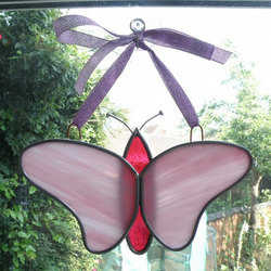 Leaded glass butterfly hanging