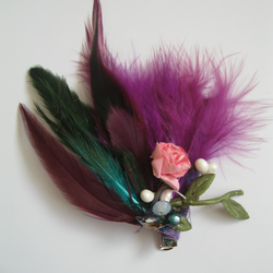 Purple Feather Fascinator (hair clip, brooch, head piece bridesmaid, wedding)