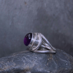 Amethyst and Silver Ring.
