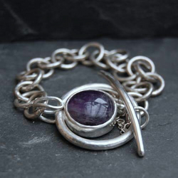 Amethyst and Sterling Silver Toggle Bracelet.