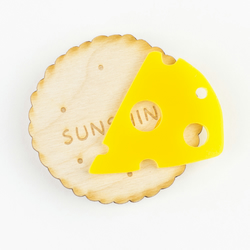 Cheese and Biscuit brooch - food lovers jewellery - laser cut wood and acrylic