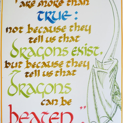Dragons can be beaten - Neil Gaiman quote, calligraphy with illustration, 12 x 9