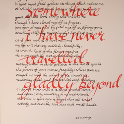 somewhere i have never travelled, gladly beyond: calligraphised poem, 10 x 14