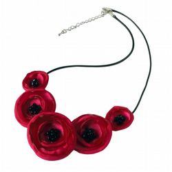 Deep Pink Fabric Poppy Necklace