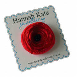 Small Red Fabric Poppy Corsage