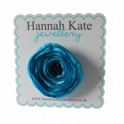 Small Turquoise Fabric Poppy Corsage