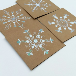 Pack of 4 hand drawn snowflake cards