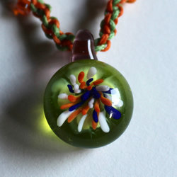 Lampworked Glass Flower Firework pendant Necklace Jewellery Orange Blue Green