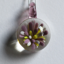 Lilac lampworked glass pendant necklace jewellery glassblowing flamework
