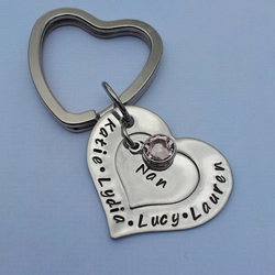 Hand stamped personalised double heart keyring with swarovski crystal birthstone