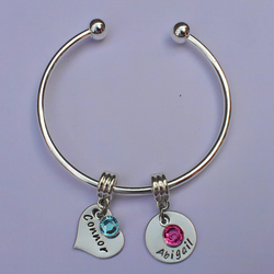 Hand Stamped personalised cuff charm bracelet bangle