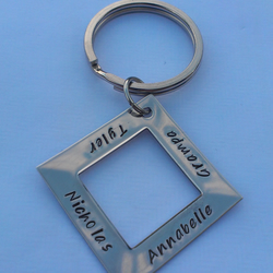 Hand stamped personalised stainless steel square name keyring Dad Daddy Grandad