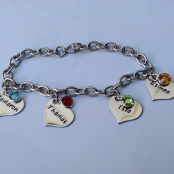 Hand Stamped personalised bracelet with name and birthdate charms