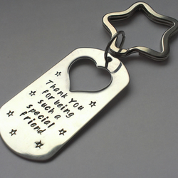 Hand stamped personalised  Thank you for being such a special friend keyring