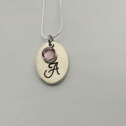 Hand stamped personalised oval initial necklace bridesmaid flower girl gift