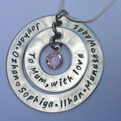Hand Stamped personalised double circle grandchildren children necklace