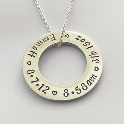 Hand stamped personalised New Mummy necklace with babys birth details