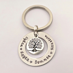 Hand Stamped personalised family tree name keyring (medium)
