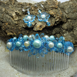 Hair comb. Turquoise sparkle comb with earrings