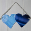 Fused Glass Double Heart in Torquoise & Blue